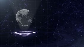 Data network. Surrounding planet earth on three looping circles. Left allocation. 3D. Close up. copy space. Zooming