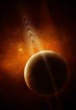 3D: Planet mit Ringen im Raum Stockbild