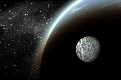 3D Planet in space in the star sky of flash. Light stock illustration