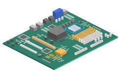 3D plano isométrico aisló el sistema de información de la placa madre del ordenador del concepto Imágenes de archivo libres de regalías
