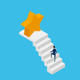 3d plano isométrico Hombre de negocios en traje que camina en la escalera a la estrella y al éxito de la victoria Paso de la esca libre illustration