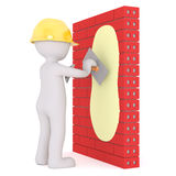 3d plaster plastering a brick wall. 3d plaster or builder wearing a hardhat plastering a red brick wall with a trowel, rendered cartoon illustration on white Royalty Free Stock Photography