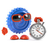 3d Plastic cog with stopwatch royalty free illustration