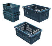 3D Plastic crate. With steel handle Stock Image