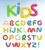 3d plastic font. Children and school vector Stock Photos