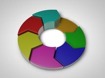 3d plastic pie chart. 3d multicolor plastic pie chart isolated on white Stock Photo
