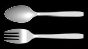 3D plastic spoon and fork Royalty Free Stock Photo