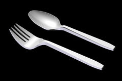 3D plastic spoon and fork Royalty Free Stock Photos
