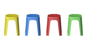 3D plastic stool chairs Stock Photos