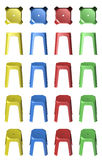 3D plastic stool chairs Royalty Free Stock Photography