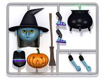 3d Plastic witch construction kit Stock Photos