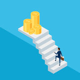 3d plat isométrique Homme d'affaires dans le costume tenant la serviette marchant sur l'escalier à l'argent et au succès Étape d' Photo libre de droits