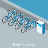 3D plat isométrique a isolé la location intérieure coupée de bicyclette Images stock