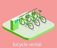 3D plat isométrique a isolé la location intérieure coupée de bicyclette Photographie stock libre de droits