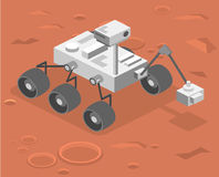 3D plat isométrique a isolé le vecteur Rover se tenant sur Mars Image libre de droits