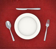 3d plate with spoon, fork and knife Royalty Free Stock Photography