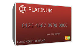 3D Platinum red Credit Card Stock Images