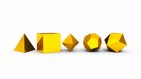 3D platonic solids gold. 3D illustration platonic solids gold Royalty Free Stock Photography