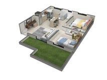 3D plattegrond van het flatje stock illustratie