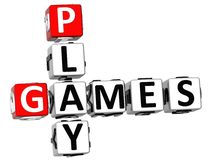3D Play Games Crossword Royalty Free Stock Image