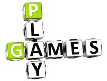 3D Play Games Crossword Royalty Free Stock Photos