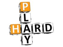 3D Play Hard Crossword text. On white background Royalty Free Stock Photography