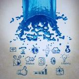 3D plons van de verf blauwe kleur en bedrijfsstrategieachtergrond als c Stock Afbeeldingen