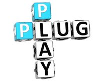 3D plug and play Crossword Fotografia Royalty Free