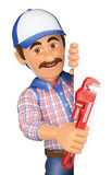 3D Plumber with a pipe wrench pointing aside. Blank space Royalty Free Stock Photo