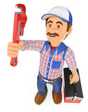 3D Plumber with a pipe wrench and a toolbox Royalty Free Stock Image