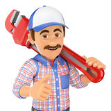 3D Plumber with a pipe wrench Royalty Free Stock Images