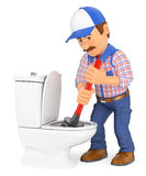 3D Plumber unclogging a toilet with a plunger. 3d working people illustration. Plumber unclogging a toilet with a plunger. White background Royalty Free Stock Photos