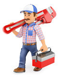 3D Plumber walking with a pipe wrench and toolbox Royalty Free Stock Photos