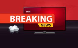 3D plus sign with modern flat screen TV health care. 3D plus sign with modern flat  screen TV, health care breaking news concept Royalty Free Stock Photo