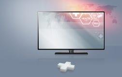 3D plus tecken med modern TV för plan skärm med vård- bilbackgro Stock Illustrationer