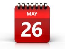 3d 26 pode calendar ilustração do vetor