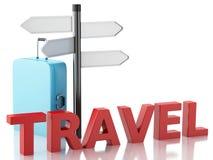 3d podróży walizka i znak deska Zdjęcia Royalty Free