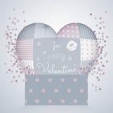 3D poduszka w kształcie serce z patchworkiem, 3d prezenta deseniowy pudełko obszyty dzień serc ilustraci s dwa valentine wektor Obraz Royalty Free