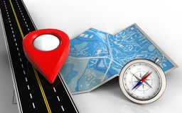 3d point icon. 3d illustration of city map with point icon and compass Stock Photo