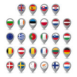3D pointer with the flags of European Union Stock Image
