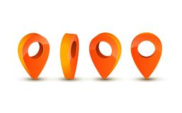 3d pointer icon for map. Pointer pin marker for travel place vector illustration.  vector illustration