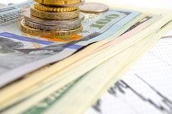 3d pojęcia dolarowej wymiany spadać stopień wzrostu Obrazy Royalty Free