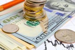 3d pojęcia dolarowej wymiany spadać stopień wzrostu Obraz Stock