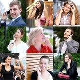 3d pojęcie związek przygotowywa mechanizm Ludzie z telefonu komórkowego kolażem Obrazy Stock