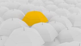 3d pojęcie, pokazuje lidera z unikalnym koloru parasolem, ilustracji