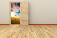 3d pokój z rozpieczętowanym drzwi Obrazy Royalty Free