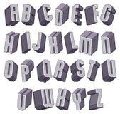 3d police audacieuse géométrique, alphabet dimensionnel monochrome Image stock