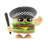 3d Police burger. 3d render of a burger working as a police officer Stock Photo