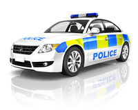 3D Police Car on White Background Stock Images