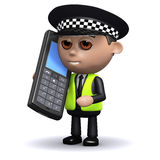 3d Police on mobile phone Stock Photography